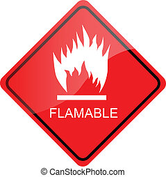 red sign Flammable - red shiny sign Flammable