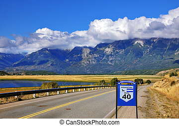 The road Ruta 40 is laid parallel to the Andes - Patagonia....
