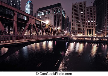 Chicago Riverwalk by Night. Chicago River.