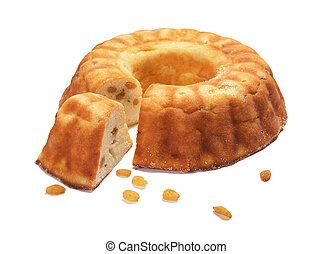 Cake with raisin, isolated on white background