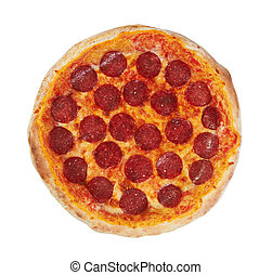Pepperoni Pizza from the top, isolated on white background