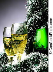 New Year card - New Year\'s card with a champagne decoration