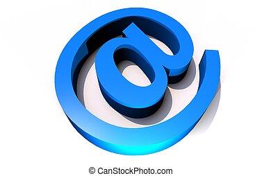 At Symbol - Blue At Symbol - Internet E-Mail Symbol. 3D...