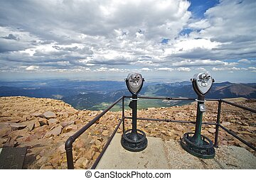 Pikes Peak Summit and Commercial Binoculars on the Concrete...