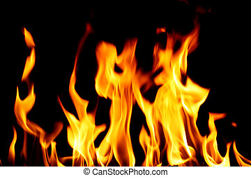 inferno fire - inferno flame fire on black background close...