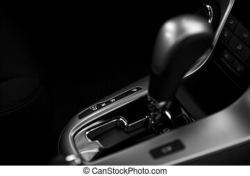 Automatic Transmission Control in Modern Vehicle. Black and...