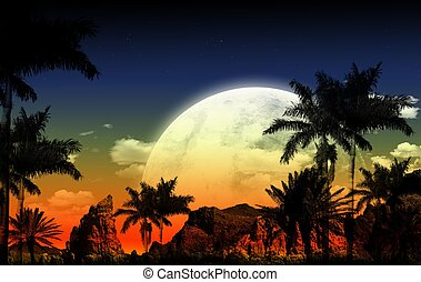 African Theme - African Night Illustration with Huge Full...