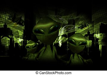 Aliens Invasion Theme - Aliens Invasion Dark Green Theme....