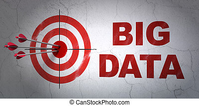 Data concept: target and Big Data on wall background -...
