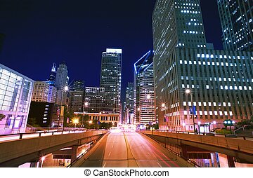 NIght Life Traffic in the Big American City. Chicago,...