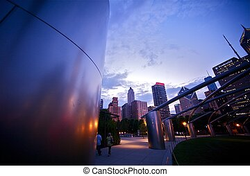 Millennium Chicago - After Sunset - Millennium Park in...