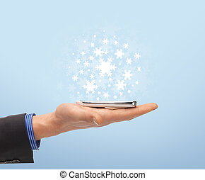 man hand with smartphone - new technology and business -...
