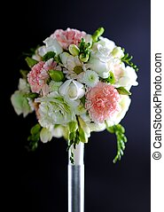 Wedding Decoration: Flowers Bouquet on Dark Solid Background...