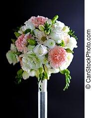 Wedding Decoration: Flowers Bouquet on Dark Solid...
