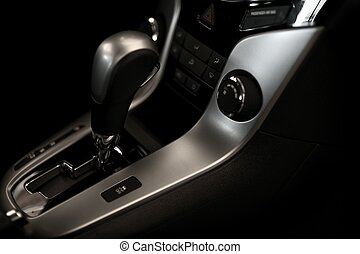 Automatic Transmission Stick and Elegant Car Interior with...
