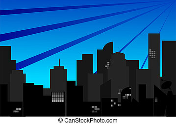 Town Silhouette at morning - Cityscape at morning