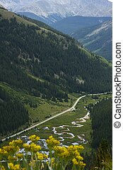 Independence Pass is at the Summit of the ridge of the...