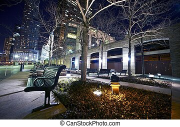 Bench on Riverwalk - Bench on Chicago Riverwalk at Night....