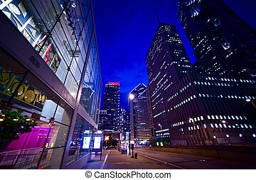 Night Lights - Chicago After Dark. Colorful Street Lights of...