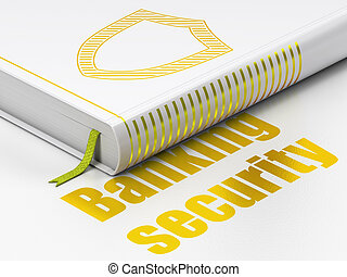 Protection concept: closed book with Gold Contoured Shield icon and text  Banking Security on floor, white background, 3d render