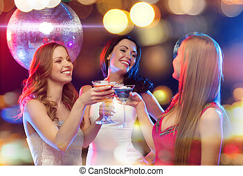 three smiling women with cocktails and disco ball - new...