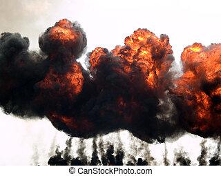 explosão, fogo, fumaça