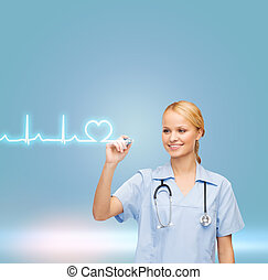 smiling doctor or nurse drawing cardiogram - healthcare,...
