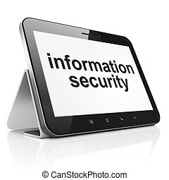 Protection concept: Information Security on tablet pc computer