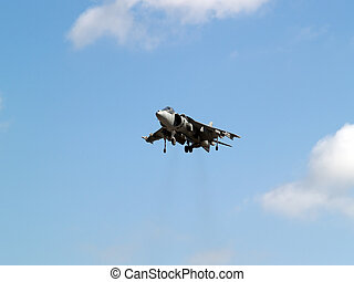 Harrier hovering high in the sky gear down