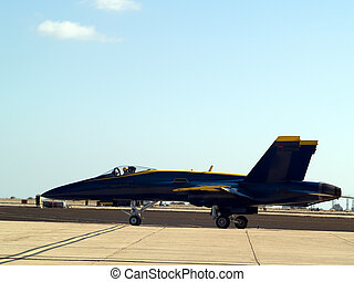 Blue angel taxiing - F-18 Blue Angel taxiing for take off...