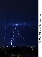 Lightning Bolt Vertical Photo - Night Hours Heavy and Severe...