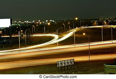 City in Motion Urban Long Exposure High Traffic Area Highway...