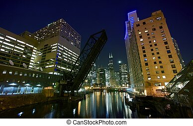 City Lights Chicago Downtown Chicago Night Time Photography...