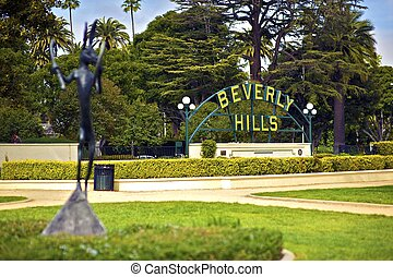 Beverly Hills California. Beverly Hills Sign in the Park....