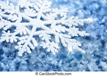 Blue background with ice and a large snowflake - Blue...