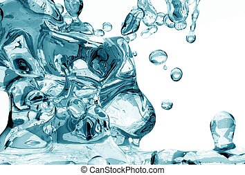 Water Freshness 3D illustration. Crystal Clear Splashing...