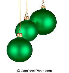Christmas arrangement with green baubles
