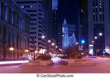 Michigan Ave Chicago - Michigan Avenue After Dark - Chicago,...