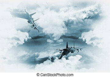 Jets Background. Two Fighter Jets in Mission. Great as...