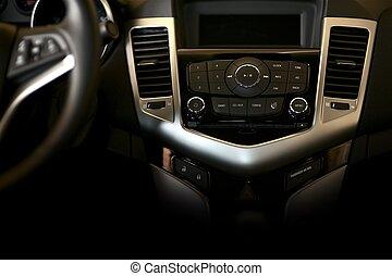 Dark Car Dashboard Horizontal Studio Photography. Modern Car...
