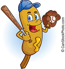 Corn Dog Baseball Cartoon Character - A smiling corn dog...