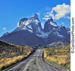 Snow-covered cliffs of Los Cuernos - Dreamland Patagonia....