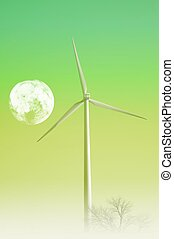Wind Turbine and the Moon. Green Energy Theme. Great as...