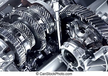 Automatic Transmission Chromed Gears - Closeup Horizontal...