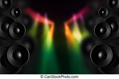 Disco Speakers and Colorful Disco Lighting Spots. Cool Dark...