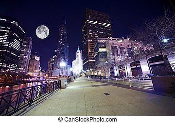 Chicago Famous Riverwalk - Chicago Riverwalk at Night....