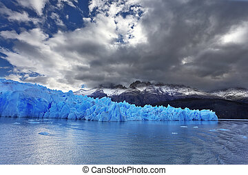Chilean Patagonia - The clouds covered the sun cold. Grey...