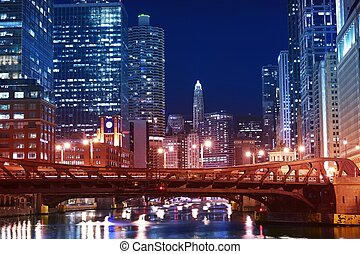 Chicago Franklin Bridge - Chicago River and Downtown at...