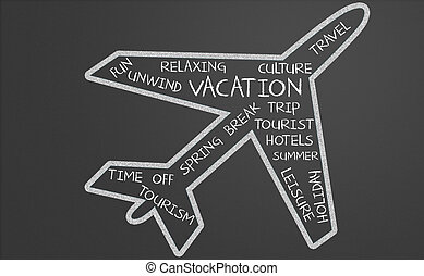 Vacation word cloud in plane shape written on a chalkboard
