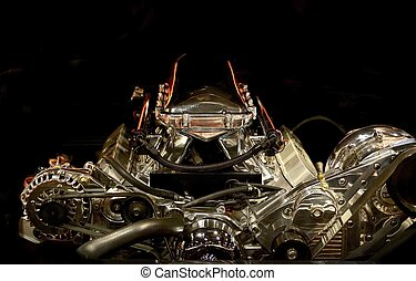 Muscle Car Engine in the Dark. Powerful American Muscle Car...